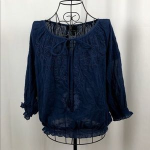 Cynthia Rowley sheer cotton peasant blouse M